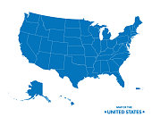 Map Of The United States In Blue