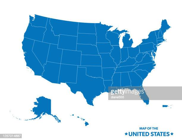 map of the united states in blue - usa stock illustrations