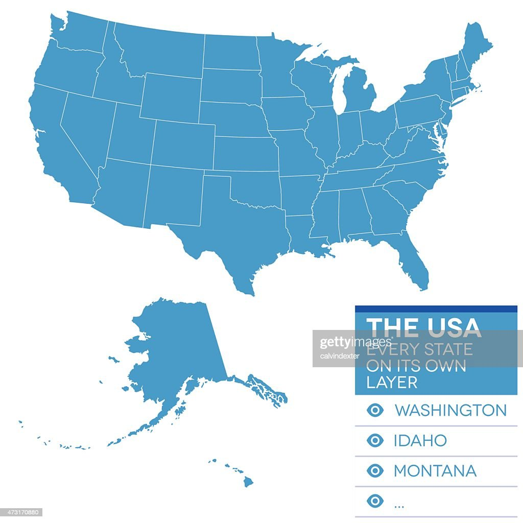 Map Of United States Of America Vector Art Getty Images