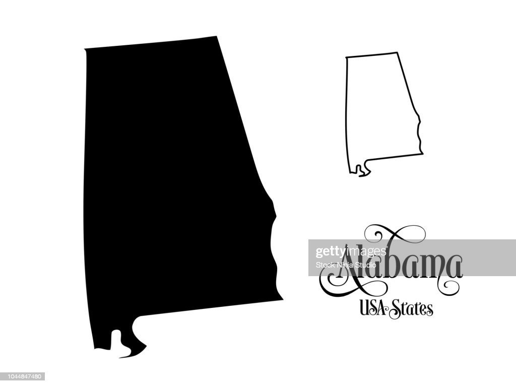 Map of The United States of America (USA) State of Alabama - Illustration on White Background