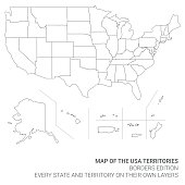 Map of the United States of America Territories