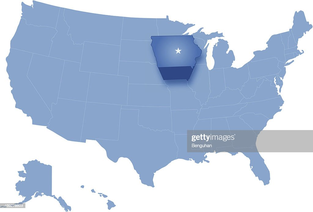 Where Is Iowa On The United States Map.Map Of The United States Where Iowa Is Pulled Out Vector Art Getty