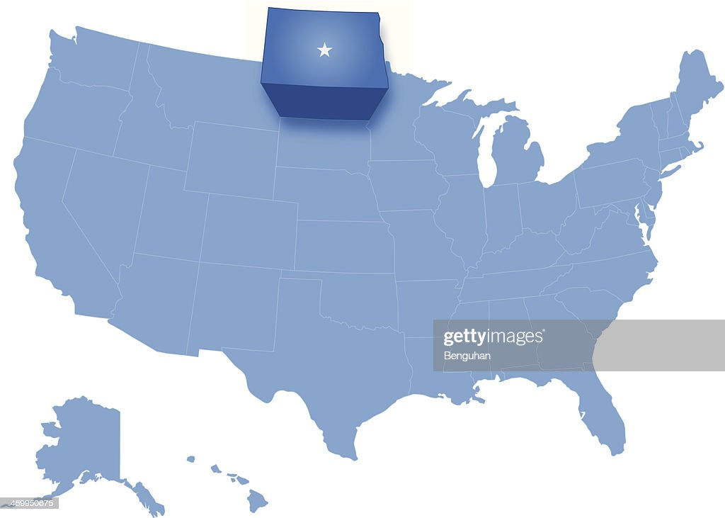 Map of the United States where North Dakota is pulled