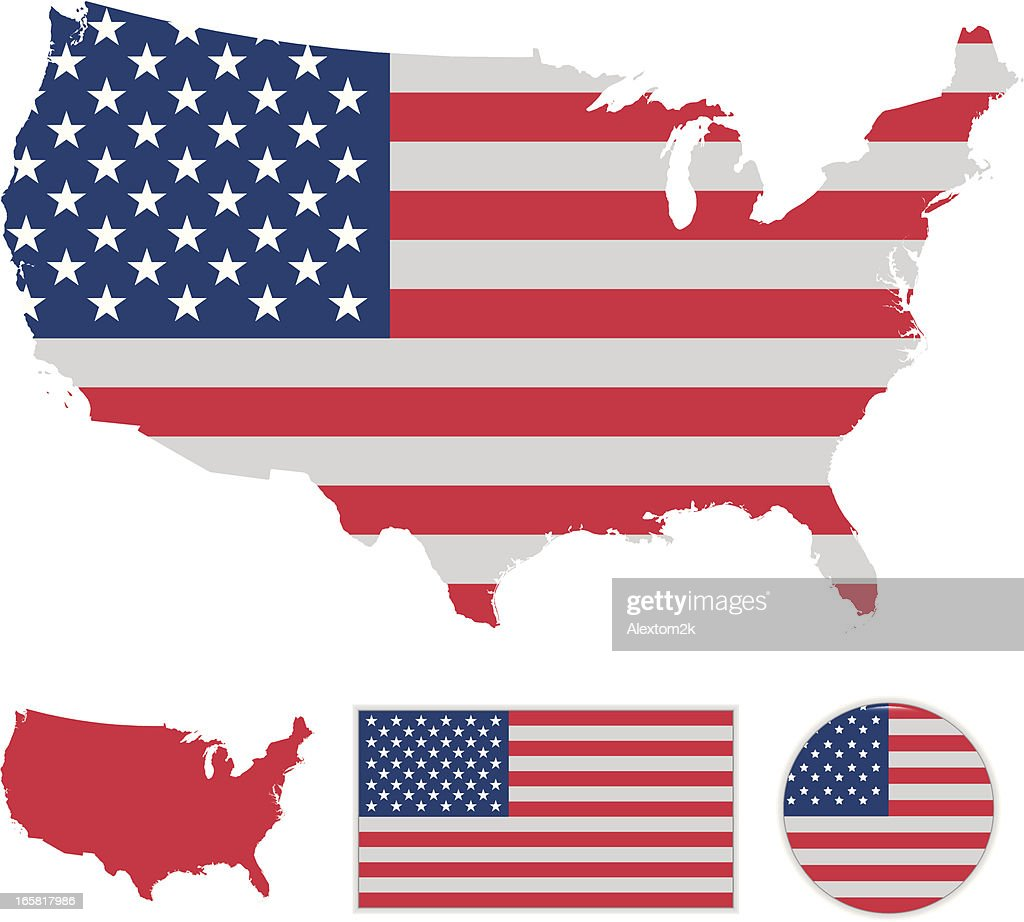 A Map Of The United States With An American Flag Overlay