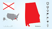 Map of The United States with the Selected State of Alabama And Alabama Flag with Locator Collection