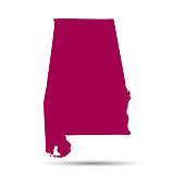 Map of the U.S. state of Alabama on a white background.