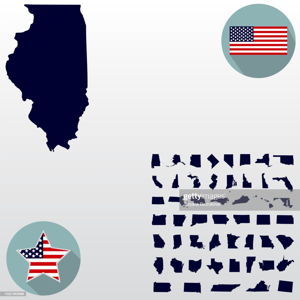 Map of the U.S. state of Illinois on a white background. American flag, star