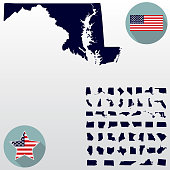 Map of the U.S. state of Maryland on a white background. American flag, star