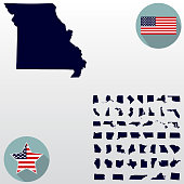 Map of the U.S. state of Missouri on a white background. American flag, star