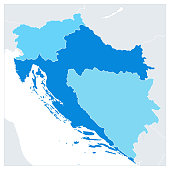 Map of the Western Balkans In Colors Of Blue. No text