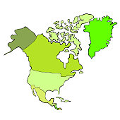 map of the world continent north america. vector illustration