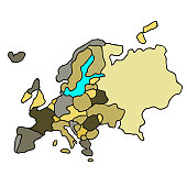 map of the world continent of europe. vector illustration