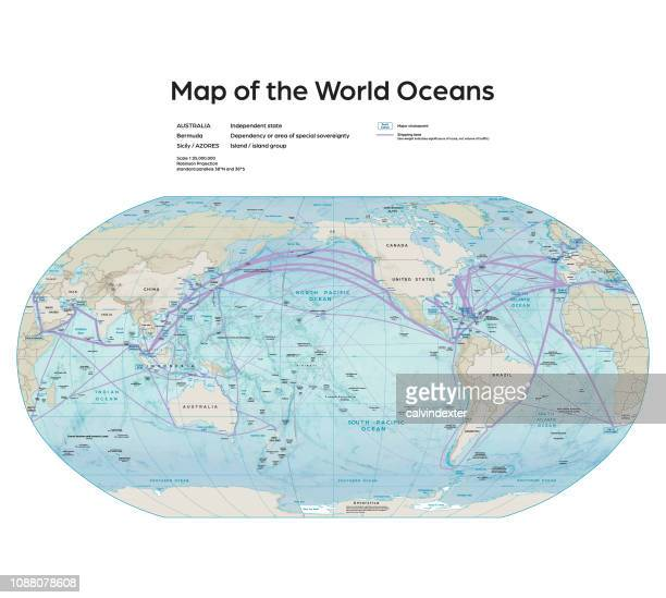 illustrazioni stock, clip art, cartoni animati e icone di tendenza di map of the world oceans - oceano pacifico
