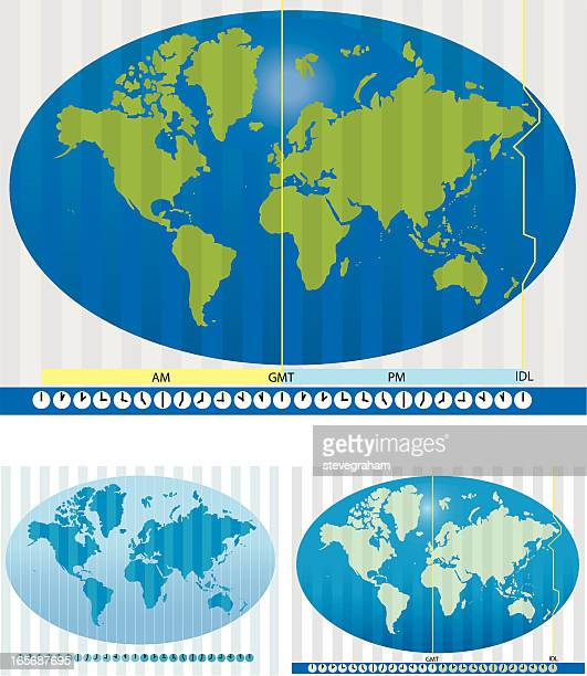 Map of the world showing time zones