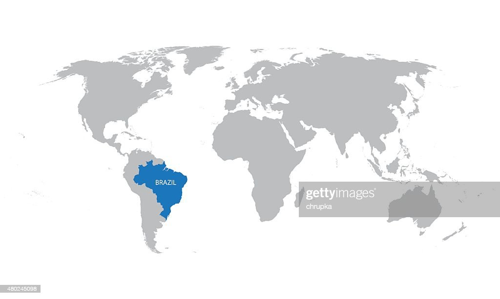 map of the world with indication of Brazil