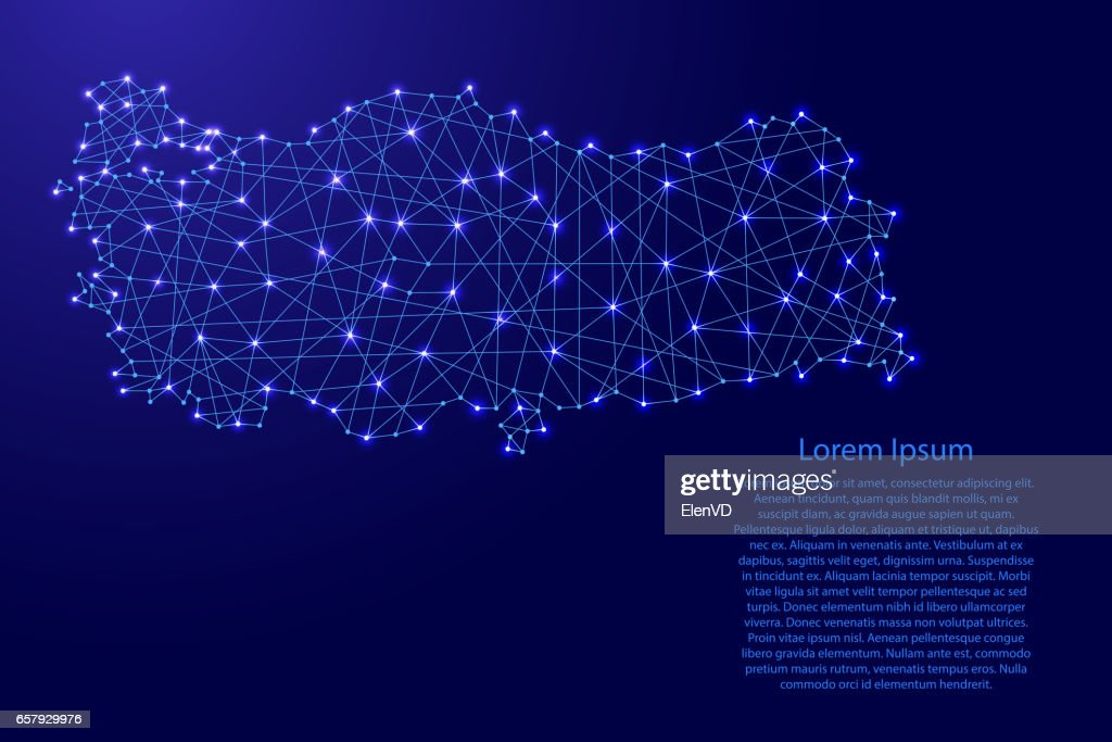 Map of Turkey from polygonal blue lines and glowing stars vector illustration