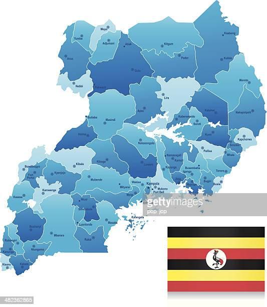 map of uganda - states, cities, flag and icons - uganda stock illustrations, clip art, cartoons, & icons