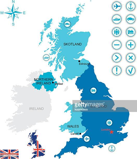 Map of UK with flag, icons and key