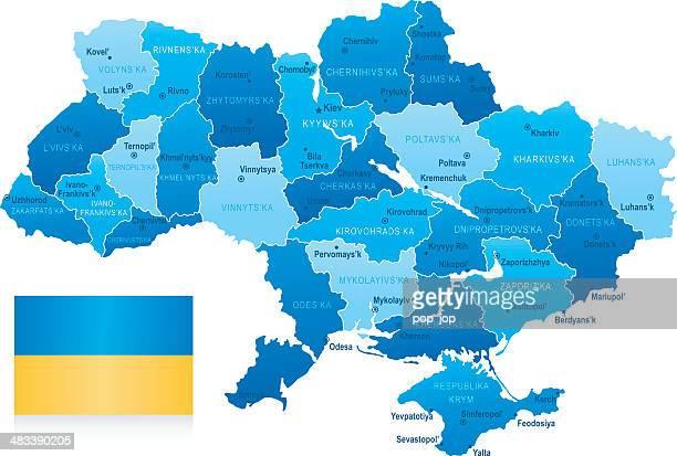 karte von ukraine-staaten, städte und flagge - ukraine stock-grafiken, -clipart, -cartoons und -symbole