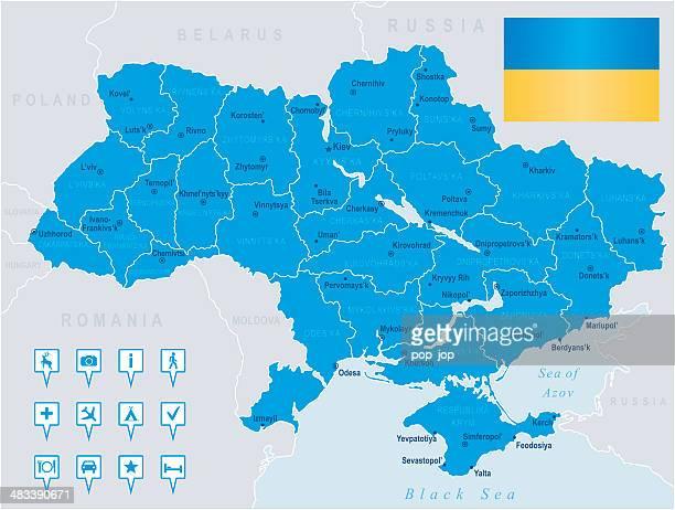 karte von ukraine-staaten, städte, flagge, navigation symbole - ukraine stock-grafiken, -clipart, -cartoons und -symbole