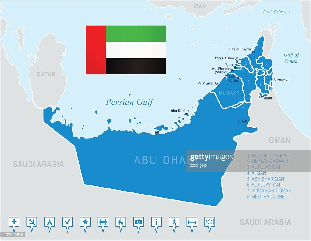 Map Of United Arab Emirates Vector Art Getty Images