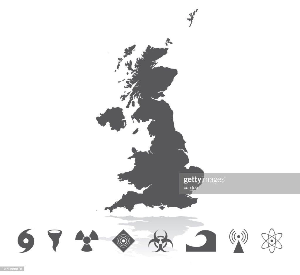 Map of United Kingdom Disaster Icons Set