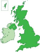 A map of United Kingdom in green