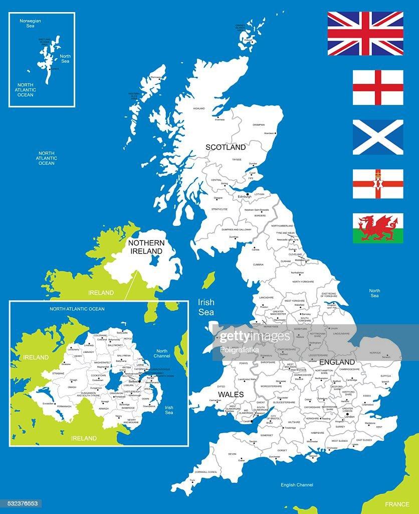 Map of United Kingdom : Vector Art