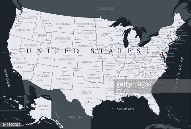 karte der vereinigten staaten - vektor - kansas stock-grafiken, -clipart, -cartoons und -symbole