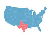 map of United States with indication of Texas