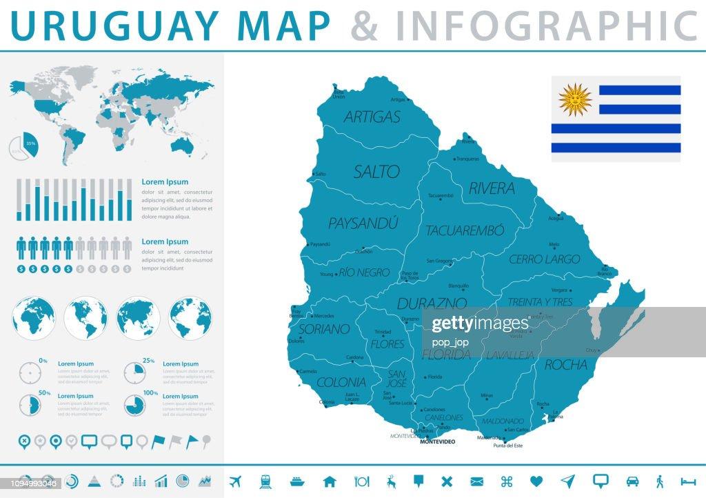 Map Of Uruguay Infographic Vector Vector Art Getty Images
