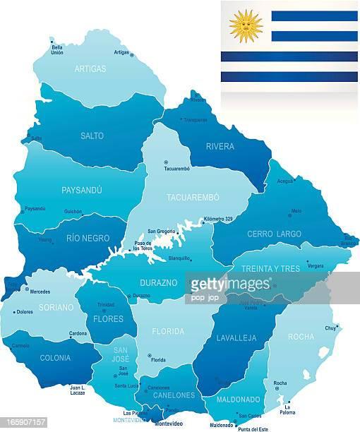 map of uruguay - states, cities and flag - maldonado uruguay stock illustrations