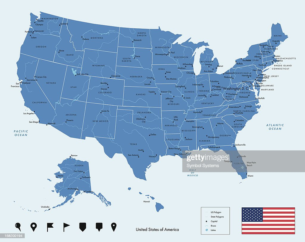 Map Of Usa Detailed With Capital Cities And States Outlined ...