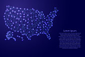 Map of USA from polygonal blue lines and glowing stars vector illustration