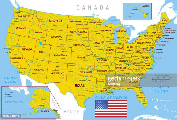 Map of USA. High detailed orange vector map with Borders and Rivers