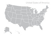 Map of U.S.A. United states of America.