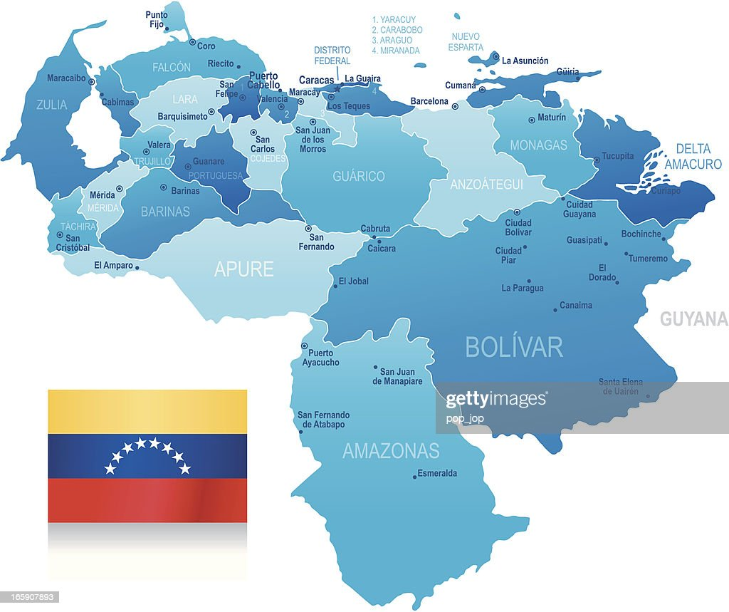 Map Of Venezuela States Cities And Flag Vector Art Getty Images