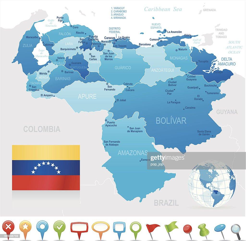 Karte Von Venezuelastaaten Städte Flagge Und Navigation ...
