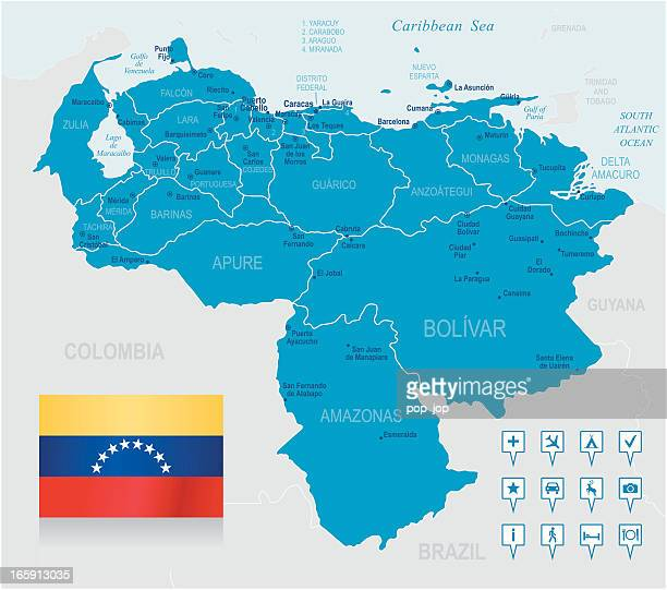 Map of Venezuela - states, cities, flag and navigation icons