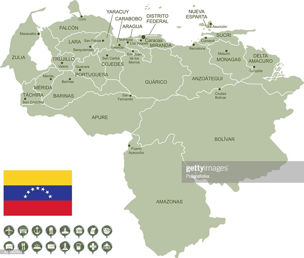Map Of Venezuela Vector Art Getty Images