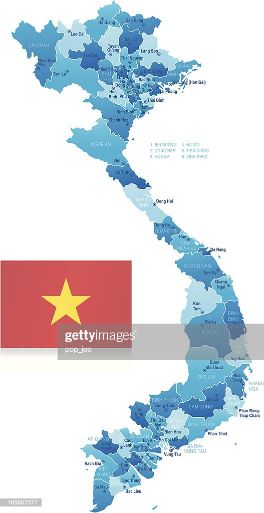 Map Of Vietnam States Cities And Flag stock vector - Getty Images