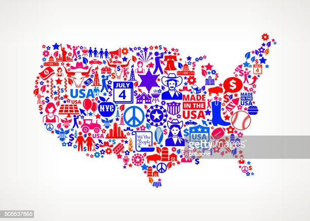 US Map on American royalty free vector art Pattern