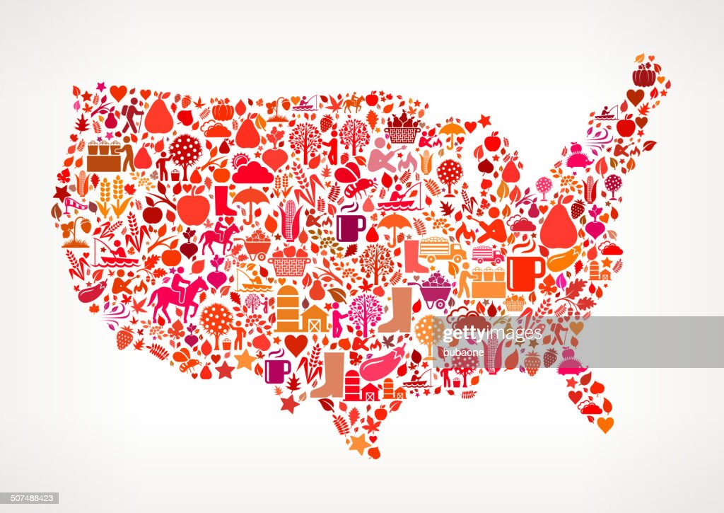 Usa Map On Autumn Seasonal Royalty Free Vector Art Pattern ...