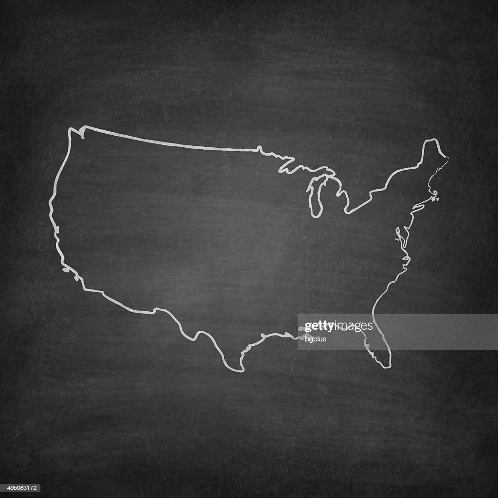 Usa Map On Blackboard Chalkboard Vector Art Getty Images