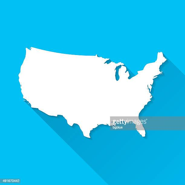 USA Map on Blue Background, Long Shadow, Flat Design