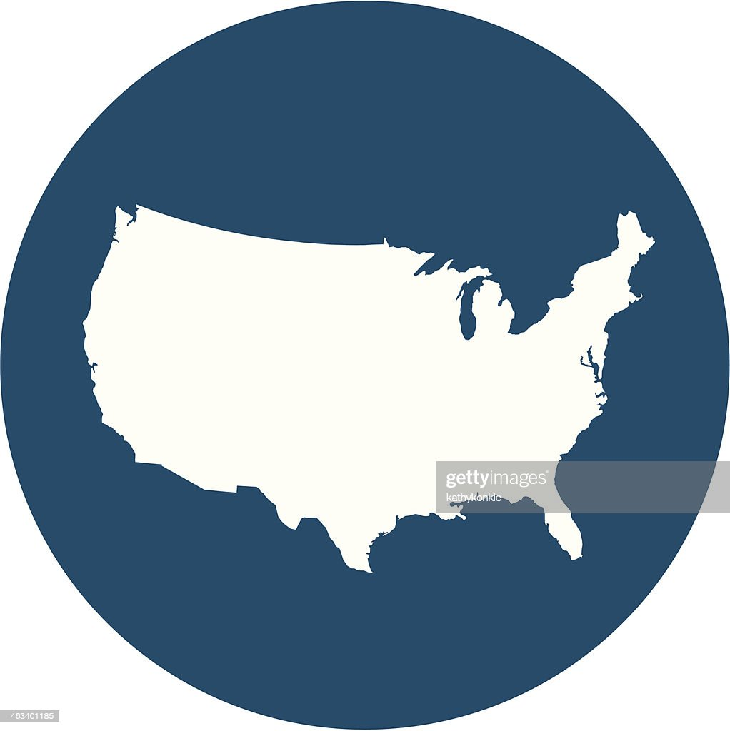 USA map on blue circle