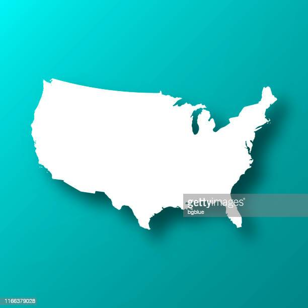 usa map on blue green background with shadow - usa stock illustrations