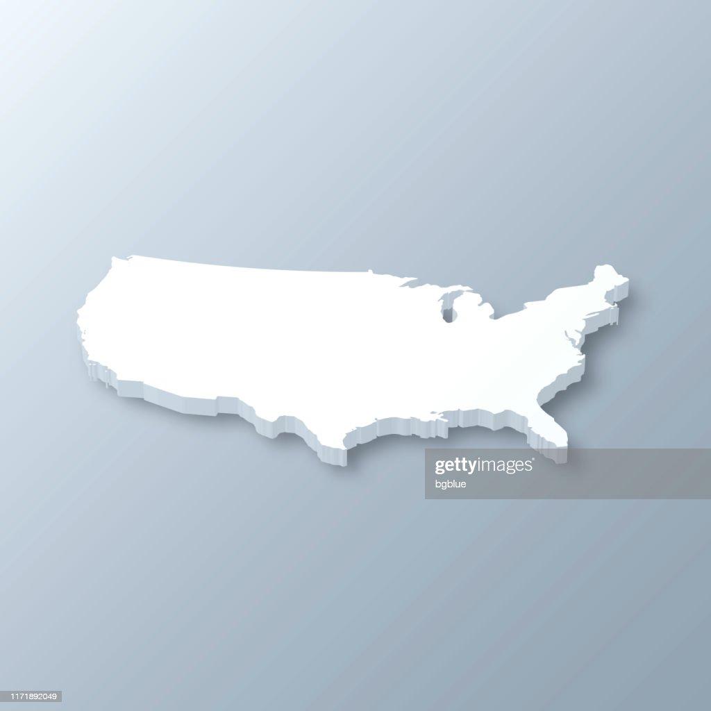 Verenigde Staten 3D-kaart op grijze achtergrond : Stockillustraties