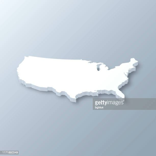 illustrazioni stock, clip art, cartoni animati e icone di tendenza di usa 3d map on gray background - carta geografica