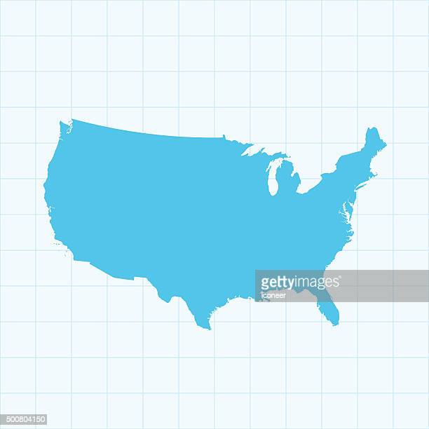 USA map on grid on blue background